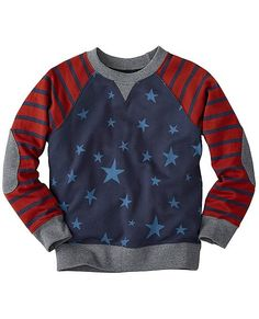 The perfect mash-up of print and stripes, elbow patches and so-soft cotton. Crafted for constant wear, he'll be throwing this on day after day.  <br>•100% combed cotton French terry knit <br>•Sturdy ribbed crewneck, cuffs and hem <br>•Raglan sleeves with elbow patches <br>•Prewashed <br>•Certified by Oeko-Tex® Standard 100 <br>•Imported