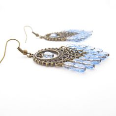 Boho Chandelier Earrings With Blue Beads by MoonlightShimmer, $18.00