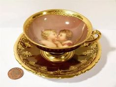 Tea Cup & Saucer with beehive mark (not in blue) Signed Wagner