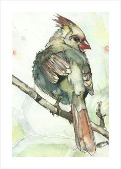 Cardinal Bird Art 5x7 Print- Light Green Watercolor and Ink Painting