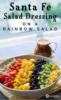 Santa Fe Salad Dressing recipe made with Chile Red Pepper Tapenade, lemon juice and olive oil. Drizzled over a Rainbow Salad, this rich vinaigrette can be used with quinoa, bulgur, and many other salads. Spoonabilities.com via @Spoonabilities