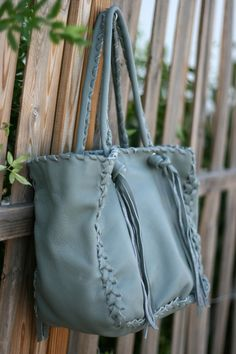 Grey Tote Bag -Italian Leather Every Day Shopping Carrier Bag - Great Diaper Bag - Laptop Bag - Handmade bag