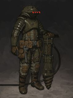 Space Miner by Ariel Perez on ArtStation. Steampunk, Armor Concept, Concept Art, Cthulhu, Fallout, Character Concept, Character Art, Space Miner, Arte Zombie