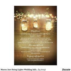 Mason Jars String Lights Wedding Information Cards