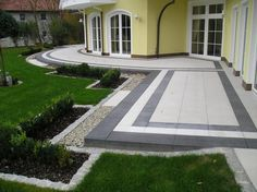 another shape patio Front Door Entrance, Entrance Gates, Main Entrance, Backyard Pool Designs, Backyard Patio, Block Paving Driveway, Landscape Design, Garden Design, Paving Ideas