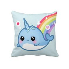 Cute baby narwhal and rainbow pillow. I want this because NARWHALS ARE REAL.