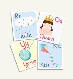 abecedario, letras decorativas, decoracion infantil, cuadros infantiles, imprimibles, niños, habitacion infantil, bebé, niños imprimibles