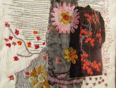 JAPANESE FLOWERS hand embroidery mixed media wall by EfisArt, $55.00