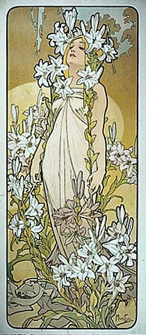 Alphonse Mucha. The painting is called the Lilly. I love the way the flowers seem to swallow her. It shows how dangerously beautiful things can be.