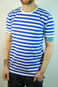 60s style nautical blue and white striped breton t shirt at ScaryCanary Clothing