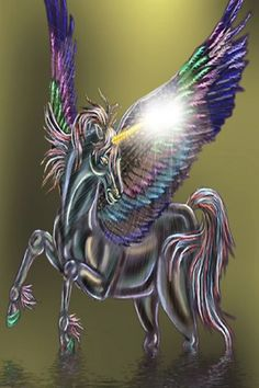 Pegasus w rainbow colored wing Unicorn Books, Unicorn Horse, Unicorn Art, Magical Unicorn, Pegasus, Magical Creatures, Fantasy Creatures, Winged Horse, Unicorns And Mermaids