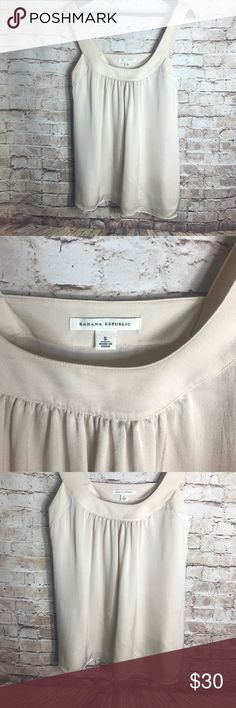 "✨Banana Republic 100%Silk ✨ Banana Republic Beige Baby Doll Sleeveless 100% Silk Blouse Size Small Women's   Great Pre-owned condition No rips, tears, marks or stains Please see pictures for details   Laying flat  Armpit to armpit 18"" Laying flat full length 25.5"" Banana Republic Tops Blouses"