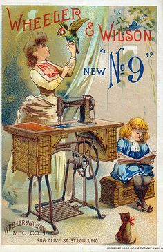 Wheeler and Wilson New No. 9 Sewing Machine ad, 1888    Advertising card for the Wheeler and Wilson New No. 9 Sewing Machine. Advertising card by H.A. Thomas and Wylie, 1888. Missouri History Museum Photographs and Prints Collections. Advertising. n39442.