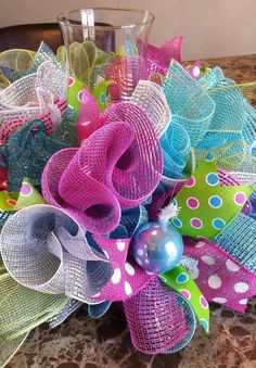 Easter/Spring  Deco Mesh Centerpiece by WonderfulWreathsKim, $45.00