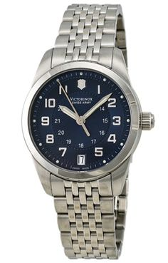 Swiss Army Ambassador Automatic Military Time Stainless Steel Womens Watch Date - 241075