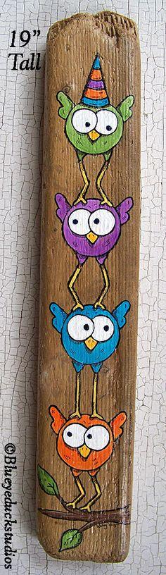 Pile de comique oiseaux peint à la main bois flotté Original Folk Art peinture lunatique Lake Erie Beach bois Birdlegs heureux de vous