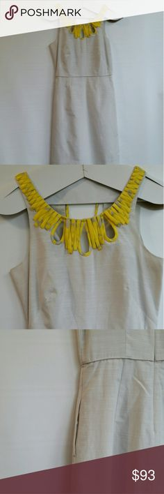🔥SALE🔥 J. CREW Silk Dress Shift Formal Sleeveles J. CREW Silk Midi Dress, comes down to right above your knees. Has pockets and a long back zipper as well as String ties on back of neck. Selling a matching belt separately. Yellow and gray, work once. Excellent condition J. Crew Dresses Midi