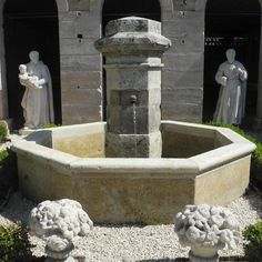 18th c. Fountain Center with Stone Basin from a Village Fountain in Chauvigny, a town in the Poitou-Charentes Region of France via Chateau Domingue