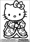 Printable colouring sheet with Hello Kitty. Color Hello Kitty in one of her less common outfits, an oriental styled Kimono dress. Color Hello Kitty in her unique dress that look as if it is filled with Sakura Flowers.