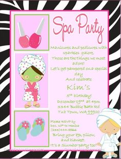 Spa Party ZEBRA Invitations PRINTABLE diy by oneofakindkeepsakes, $7.00