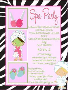 Spa Party ZEBRA Invitations PRINTABLE diy by oneofakindkeepsakes, $7.00
