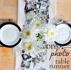 This cute DIY photo runner is perfect for a rehearsal dinner or welcome table
