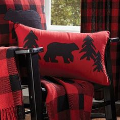 The Buffalo Check Bear Pillow features a bear and trees applique on background of black and red check, 12x20 100% cotton