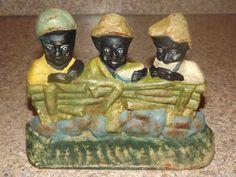 Vintage Antique Hubley Cast Iron Black Americana Boys Sambo Watermelon Door Stop Antique Decor, Antique Toys, Vintage Antiques, Antique Iron, Vintage Iron, Vintage Black, Door Stopper, Iron Doors, American Flag
