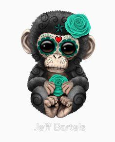 Day of the Dead Sugar Skull Baby Chimp | Jeff Bartels