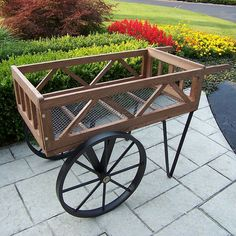Oakland Living L x D x H Black Plant Cart at Lowe's. Our flower garden wagon will add beauty and style to your backyard, patio or garden. Constructed of durable steel and wood, this wagon features a hardened Wagon Planter, Wheelbarrow Planter, Planter Boxes, Planter Garden, Patio Planters, Planter Ideas, Outdoor Plants, Outdoor Decor, Potted Plants