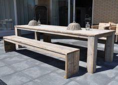 Grote foto tafel steigerhout met blok poten onder het blad woning inrichting tafels