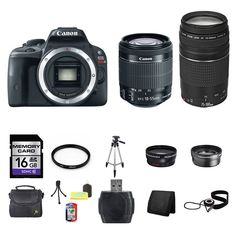Canon EOS Rebel SL1 DSLR Camera w/18-55mm & 75-300mm Lenses 16GB Full Kit