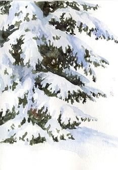 Painting Snow on Evergreens - Watercolor Tips Tutorial /Susie Short Watercolor Paintings For Beginners, Watercolor Tips, Watercolor Projects, Watercolour Tutorials, Watercolor Techniques, Watercolor Landscape, Watercolor And Ink, Watercolour Painting, Watercolors