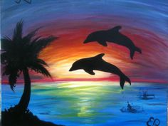 Dolphin Sunset Painting | Dolphin.SUNSET