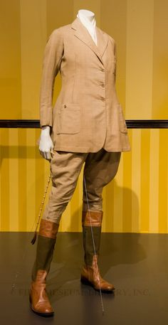Riding habit (installation photo)  c. 1924  Gift of Eleanor Phillips Colt  95.193.1AB