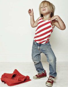 kid in red stripes