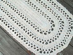 Oval Shape Rug in Ecru Off White Cotton Crochet