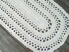 Oval Shape Rug in Ecru Off White Cotton Crochet    I am thinking, what a pretty shawl this could be!