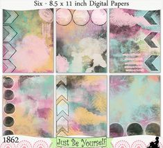 Instant Download Circles and Chevrons Pink Blue Yellow by JustBYourself, $3.00 (1862)