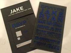 Love this acrylic invitation - any 2 colors work but this combination is all boy - perfect for any Bar Mitzvah. Love the dark paper for the response card and envelope. Box Invitations, Acrylic Invitations, Custom Invitations, Response Cards, No Response, Bar Mitzvah, Party Stuff, 2 Colours, Rsvp