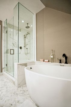 Bathroom Design Ideas, Pictures, Remodel and Decor  like the warm color, instead of typical cool grey vein marble
