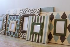 Custom Wall Grouping of Distressed Wood Picture Frame in Neutrals with a POPS of color of your choice