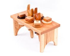 Adorable! Wooden tool bench from A Summer Afternoon - hardwood toys finished with child -safe beeswax.   Wooden toys, wood toys, organic toys, montessori, waldorf, developmental toys.