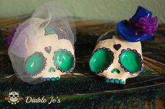 Custom Colours - Wedding Sugar Skull Cake Toppers in Peacock Colouring  www.etsy.com/uk/shop/diablojos