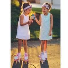 Girls just wanna have fun!!!  These cute BFF's are looking so darling in their #thinkpinkbows headwraps and dresses!! We just added more of these flower headwraps to our shop!! {link in profile}  #rollagirls #rollerskates #summer #bff #ootd #boutique