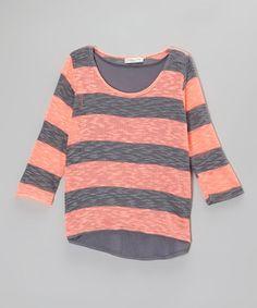 Look at this #zulilyfind! Coral & Gray Stripe Sweater - Girls by Pinc Premium #zulilyfinds