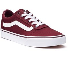 Vans Ward Low Women's Skate Shoes (744.840 IDR) ❤ liked on Polyvore featuring shoes, sneakers, vans, dark red, laced shoes, dark red shoes, lacing sneakers, round toe shoes and skate sneakers