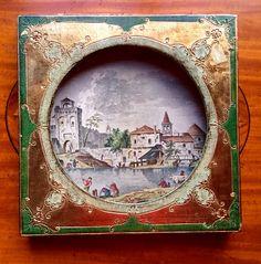 Unusual  Florentia Italy Shadowbox Print, Gilt Gold Hollywood Regency Frame Village Dock Scene w Gondolas Animals,  Romantic Paris Apartment by TallTimberAntiques on Etsy
