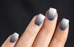 Nail tips for the 50 shades of grey theme party! Gray Nails, Gradient Nails, Glitter Nails, Acrylic Nails, How To Do Nails, Fun Nails, Pretty Nails, New Nail Colors, Grey Nail Designs