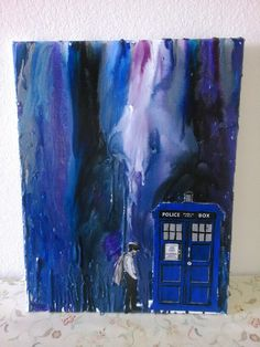 doctor who inspired melted ceayon art sealed in the final product with mod podge - Dr Who Bedroom Ideas